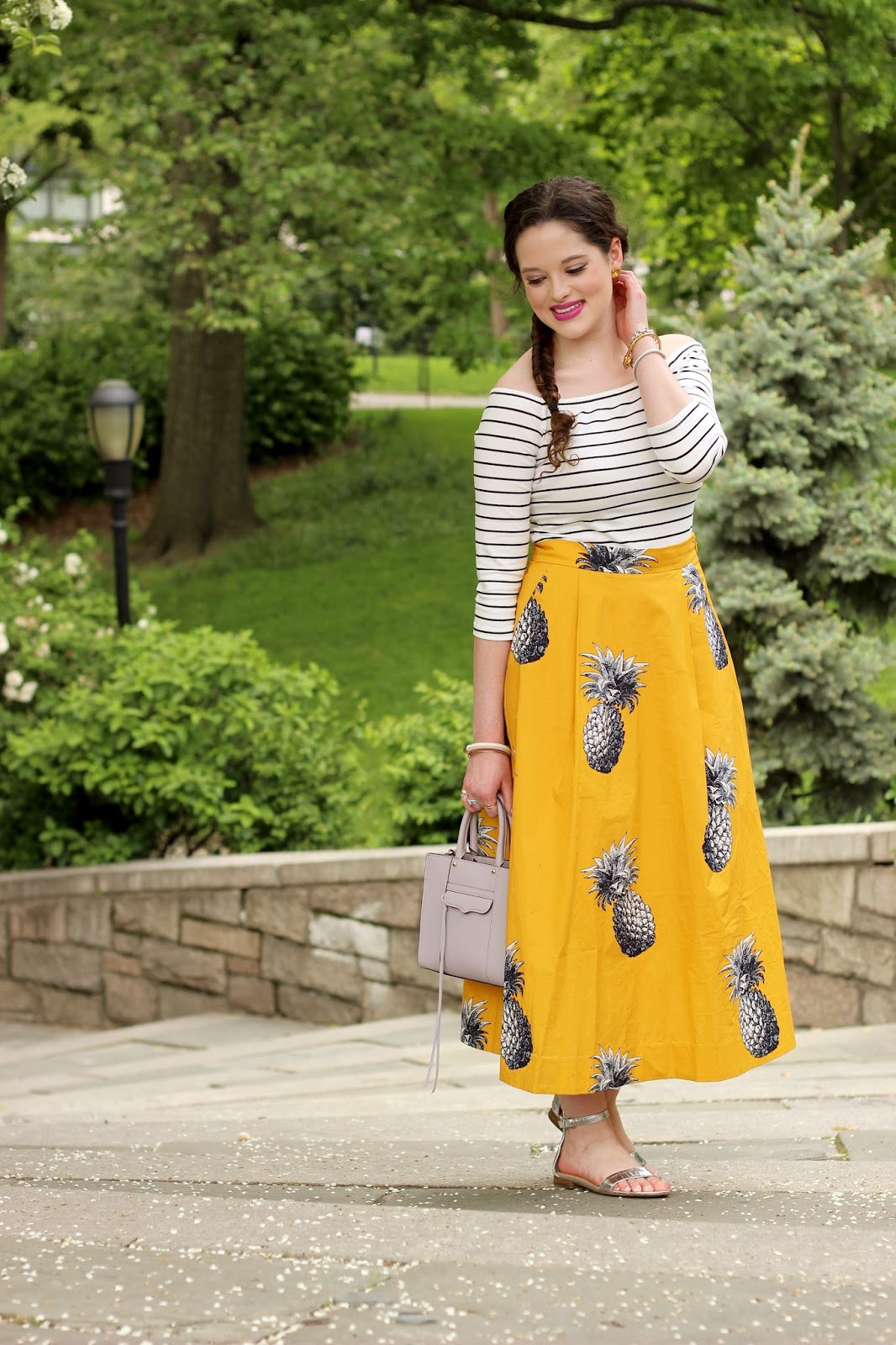pineapple fashion midi skirt