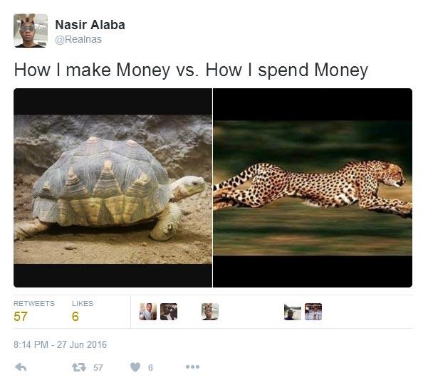 Hilarious tweet: How I make money vs how I spend money
