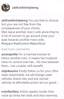 "Ubi Franklin warns men to ""stay away"" from other people's wives"