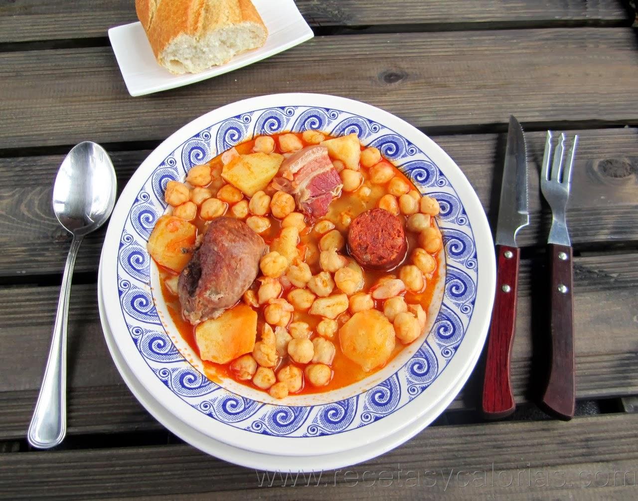 calorias plato cocido garbanzos