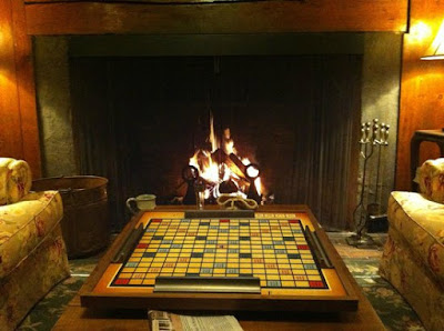 Playing Scrabble by the fire