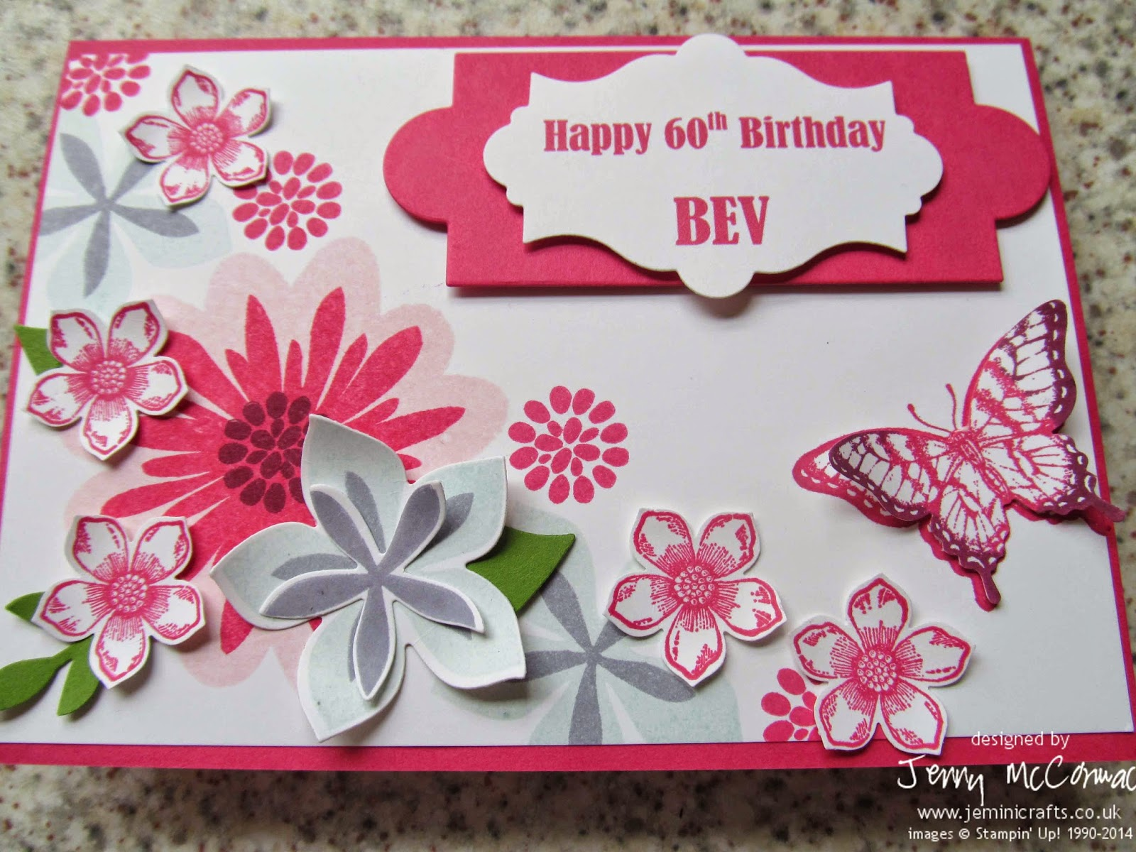 Jemini Crafts Floral Birthday Card