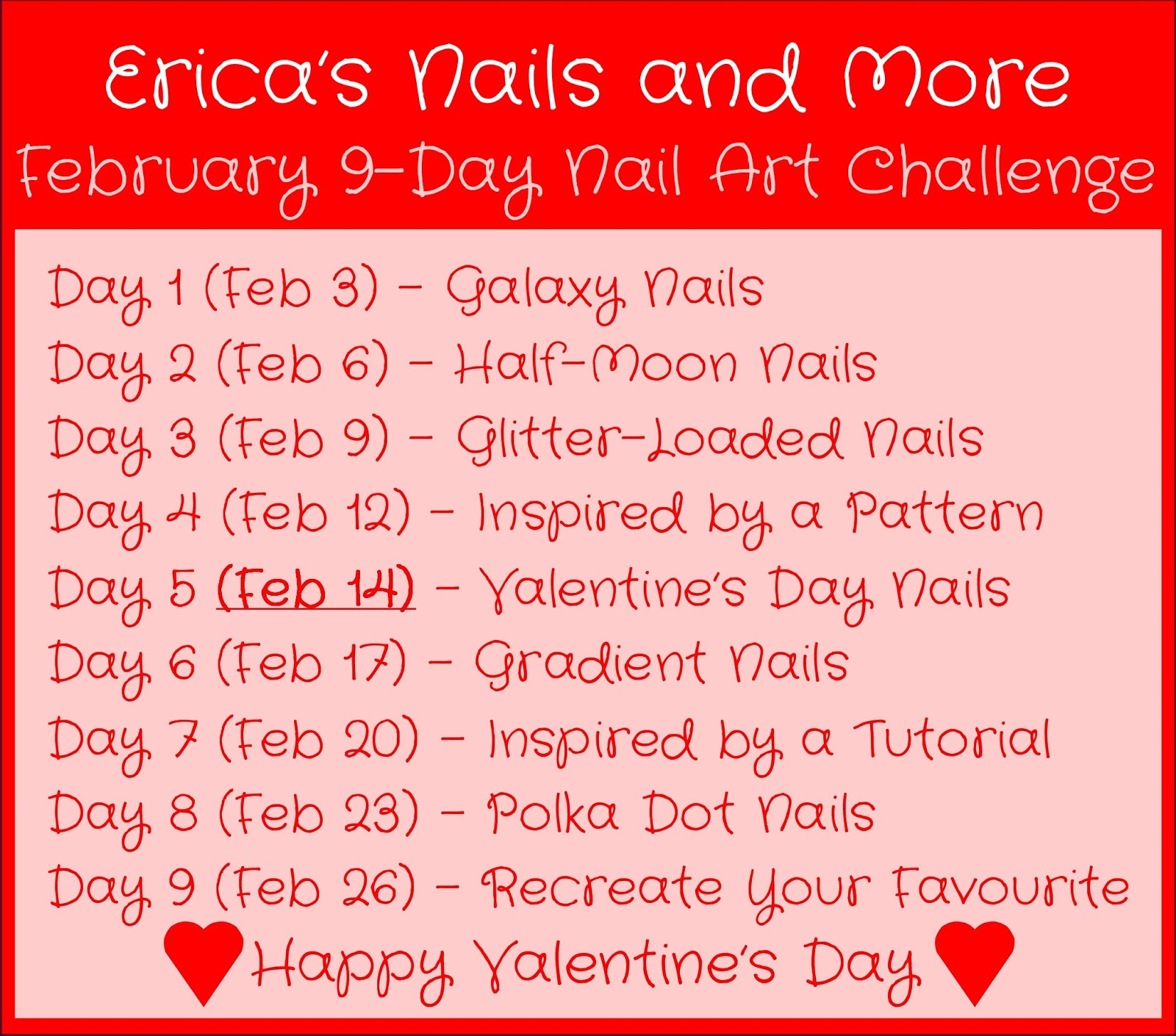 Nail Art February Challenge: Erica's Nails And More: February Nail Art Challenge