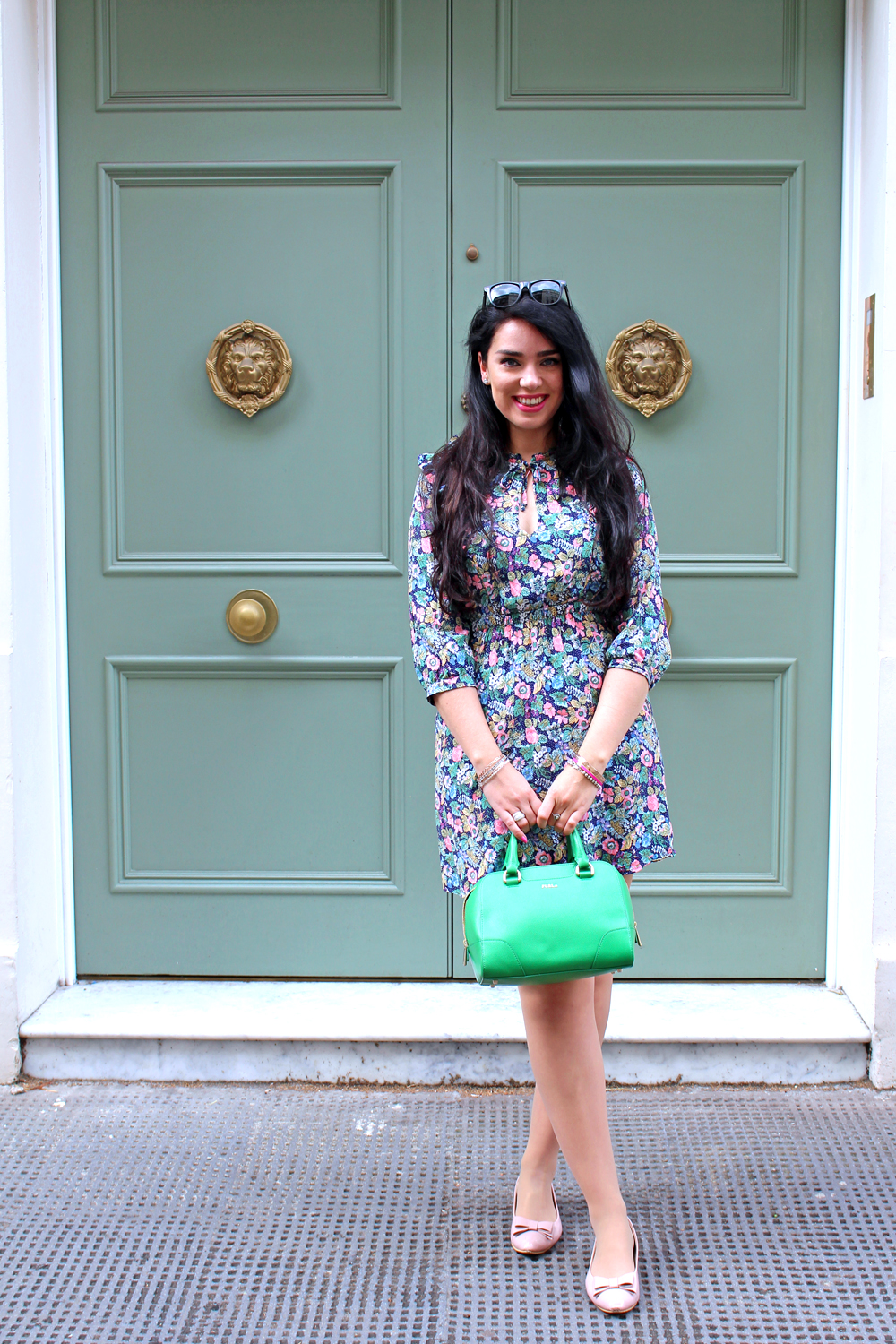 Emma Louise Layla in ditsy floral dress - London fashion blogger