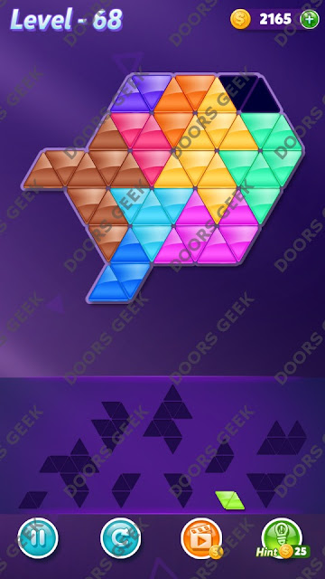 Block! Triangle Puzzle 10 Mania Level 68 Solution, Cheats, Walkthrough for Android, iPhone, iPad and iPod