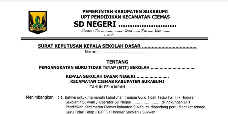 Contoh Surat Keputusan Kepala Sekolah Untuk Pengangkatan