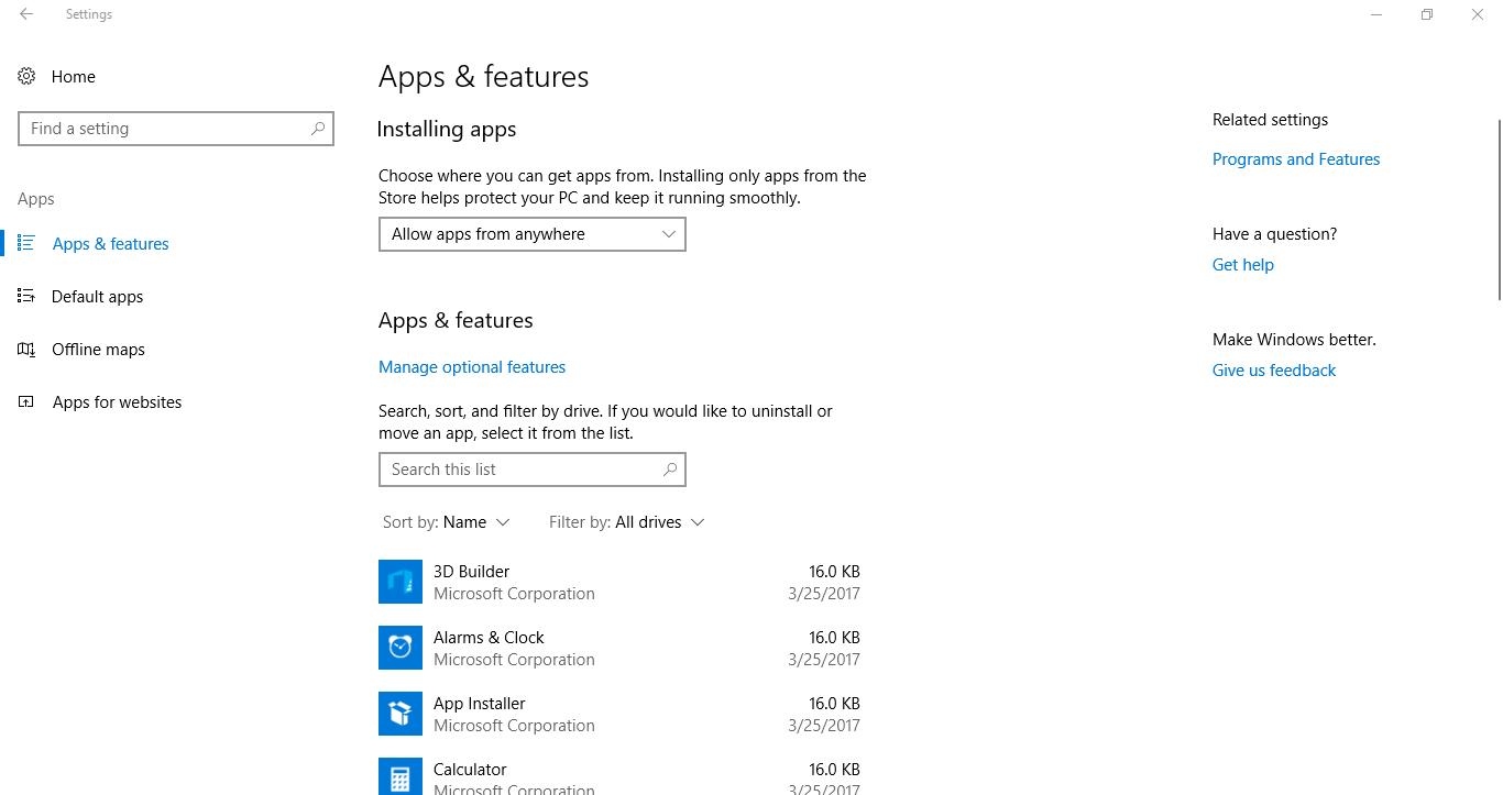 Gỡ bỏ trực tiếp các ứng dụng mặc định WindowsApps trong Windows 10 phiên bản 1703