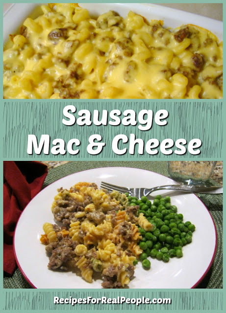 Sausage mac & cheese, delicious comfort food no matter which macaroni you choose to use.