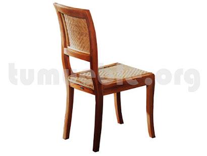 silla comedor asiento rattan en teca 1387