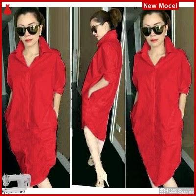 FHGS9103 Model Tunik Kaiko Merah, Tunik Pakaian Perempuan Rayon BMG
