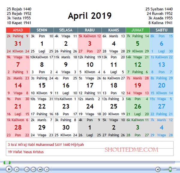kalender jawa april 2019