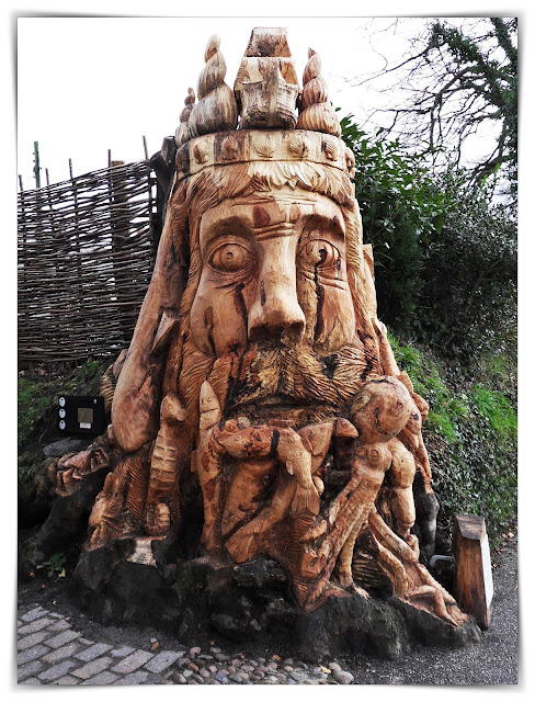 Neptune Sea God carved from wood at Charlestown, Cornwall