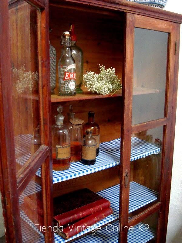 Kp tienda vintage online alacena vintage de madera antigua ref t7 - Alacenas de madera para cocina ...