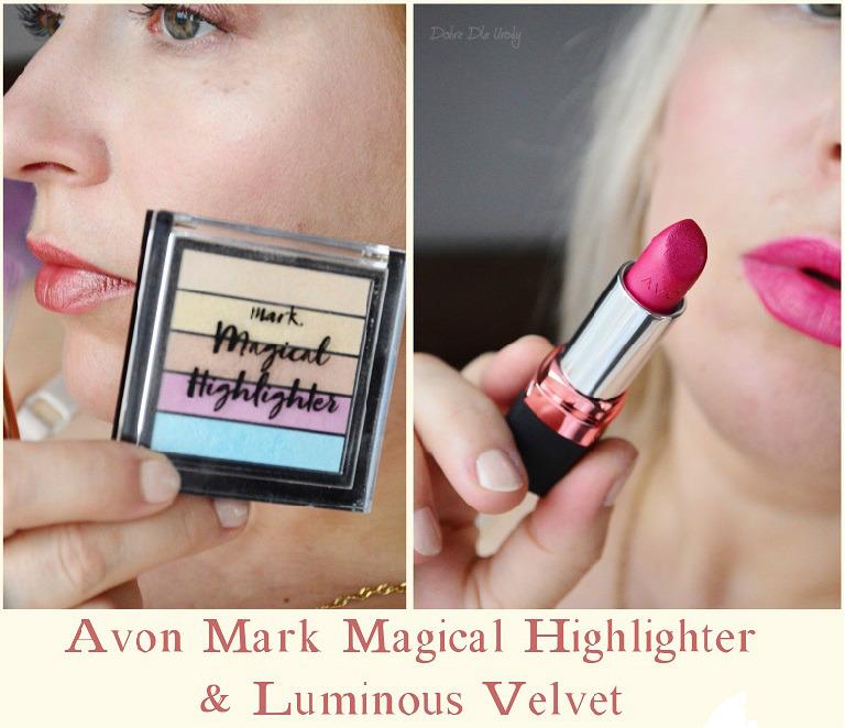 Rozświetlacz do twarzy Magical Highlighte i Szminka Luminous Velvet Garnet Flare Avon