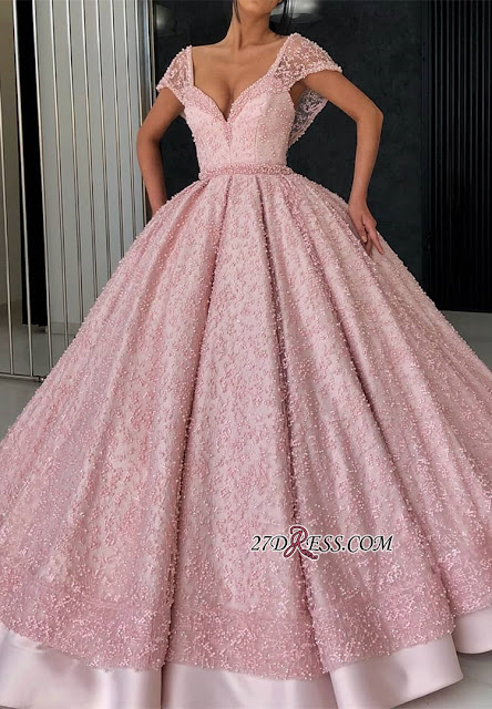 Glamorous Cap Sleeve Pink Evening Dress | 2019 Ball Gown Beadings Prom Gown