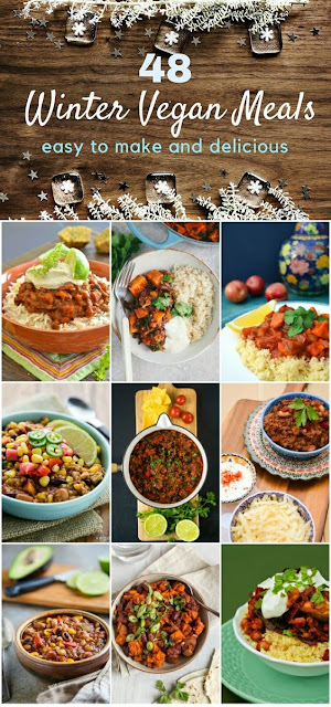 48 easy winter vegan meals to see you through the cold months. Comforting meals that anyone can make. From soups and stews to pies and curries. #veganrecipes #vegansoups #veganstews #vegancasseroles #veganchilli #veganpies #veganuary