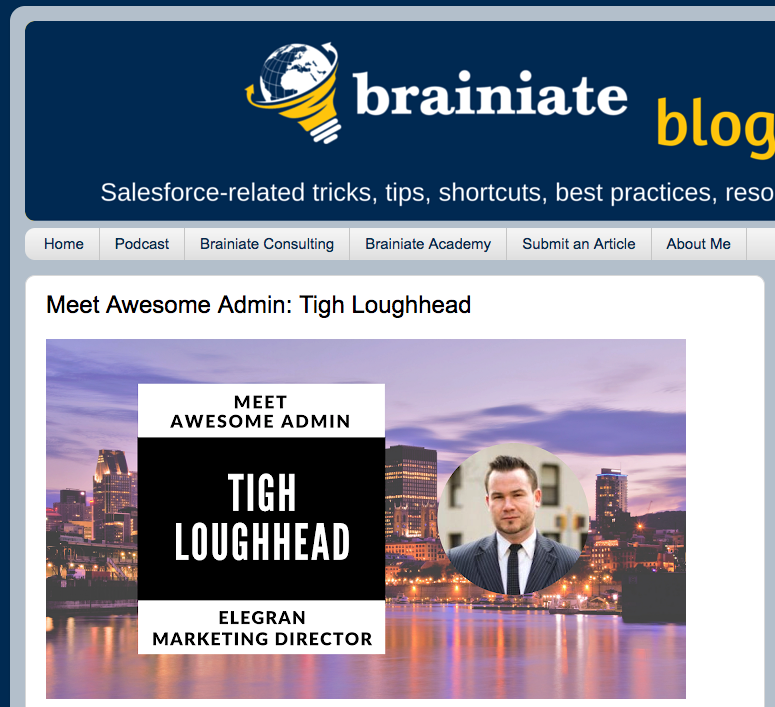 Tigh Loughhead AwesomeAdmin on David Gillers Braniate Blog
