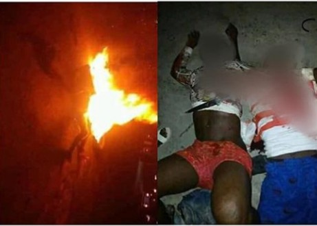 JUNGLE JUSTICE: Tricycle snatcher set ablaze in Delta