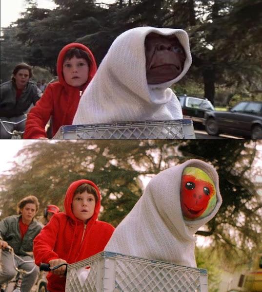 網友改作經典知名電影 E.T. 的劇照,將「E.T. 要回家」的畫面改成「福祿猴要回家」。數位時代翻攝自「野生福祿猴」社團。
