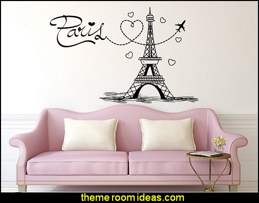 Eiffel Tower Wall Decal Paris Silhouette Vinyl Stickers Decals Art Home Decor Mural Vinyl Lettering Wall Decal France Bedroom Dorm