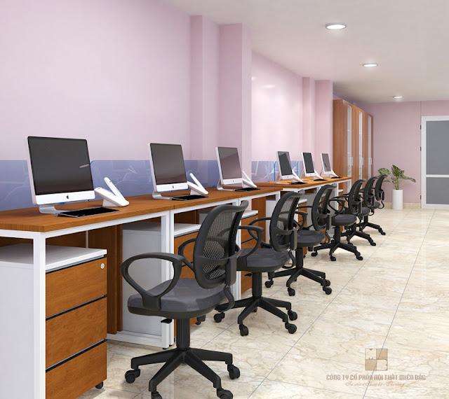 Những mẫu bàn làm việc văn phòng gỗ chân sắt hiện đại là sự lựa chọn quen thuộc trong thiết kế văn phòng ngày nay