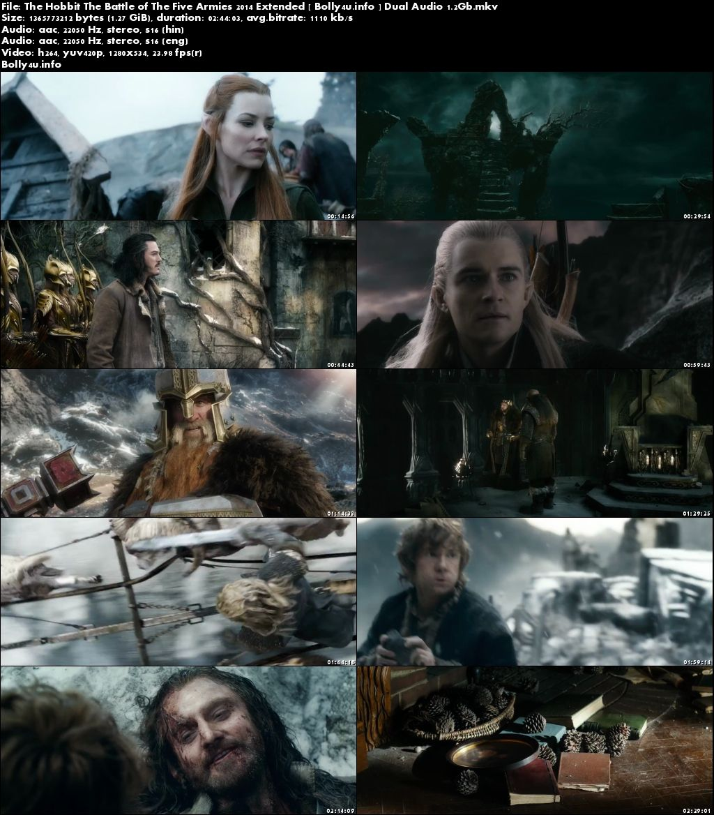 The Hobbit The Battle of The Five Armies 2014 BRRip Dual Audio 1.3GB 720p Download