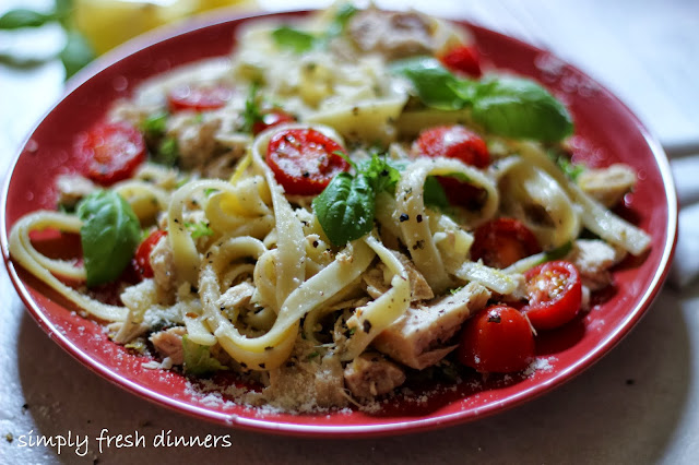 Fettuccine with Tuna, Fresh Herbs and Tomatoes by simplyfreshdinners.com