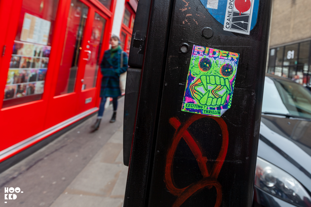 Screen-printed Stickers by artist Ben Rider in London