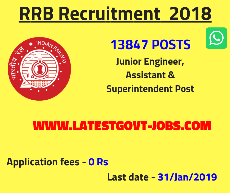RRB Recruitment 2019 - 13487 Vacancies for JE, Superintendent & Assistant - Apply Online
