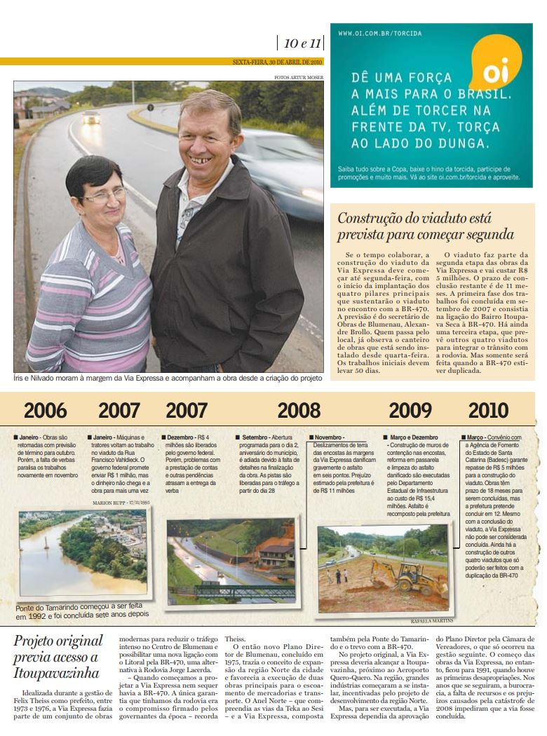 História da construção da Via Expressa de Blumenau cruzando a história do casal Wruck às margens da rodovia, sacada de Cristian Edel Weiss, Cristian Weiss, no Jornal de Santa Catarina, RBS, NSC Comunicação