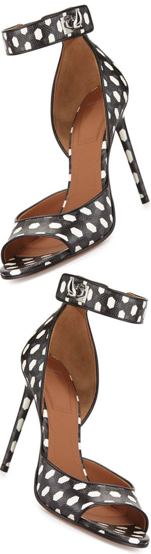 Givenchy Polka-Dot Shark-Lock Sandal, Black/White