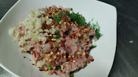 Minced chicken with chopped garlic parsley chilly flakes black pepper powder For scotch eggsRecipe