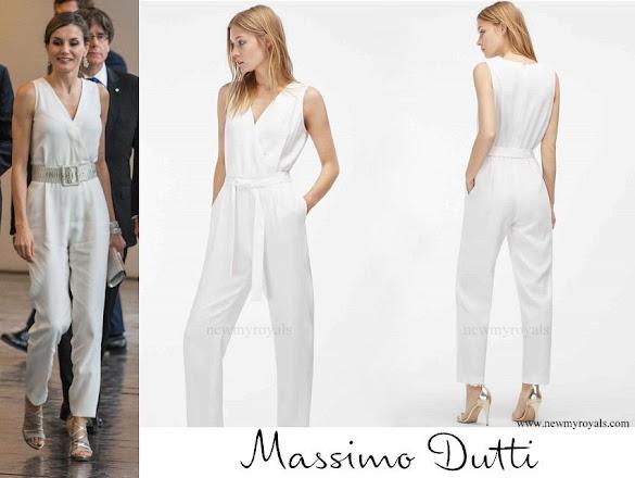 Queen Letizia wore Massimo Dutti White Jumpsuit