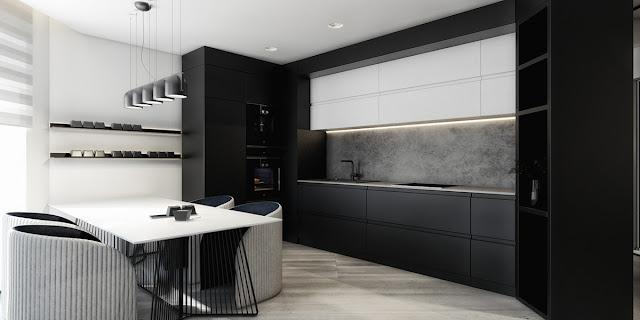 стиль минимализм чнрная кухня