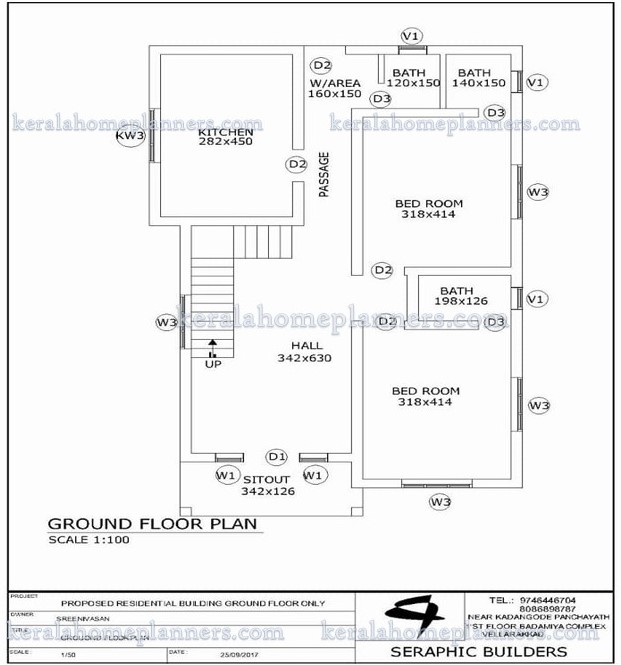3 bedroom home design with free plan suitable for small for Plot plan for my house online