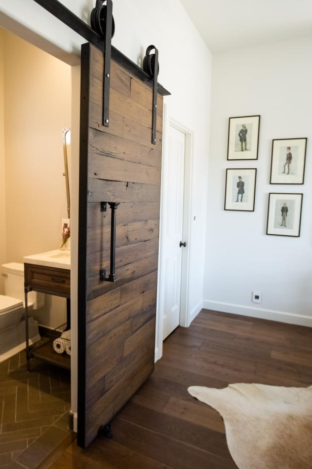 Industrial Barn Door on a Bathroom
