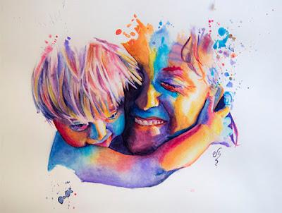 Retrato en acuarela en colores vivos