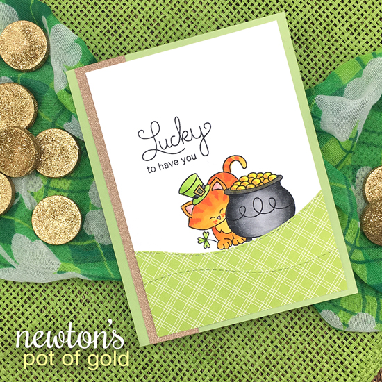 St Patricks Day card with Cat by Jennifer Jackson | Newton's Pot of Gold stamp set by Newton's Nook Designs #newtonsnook
