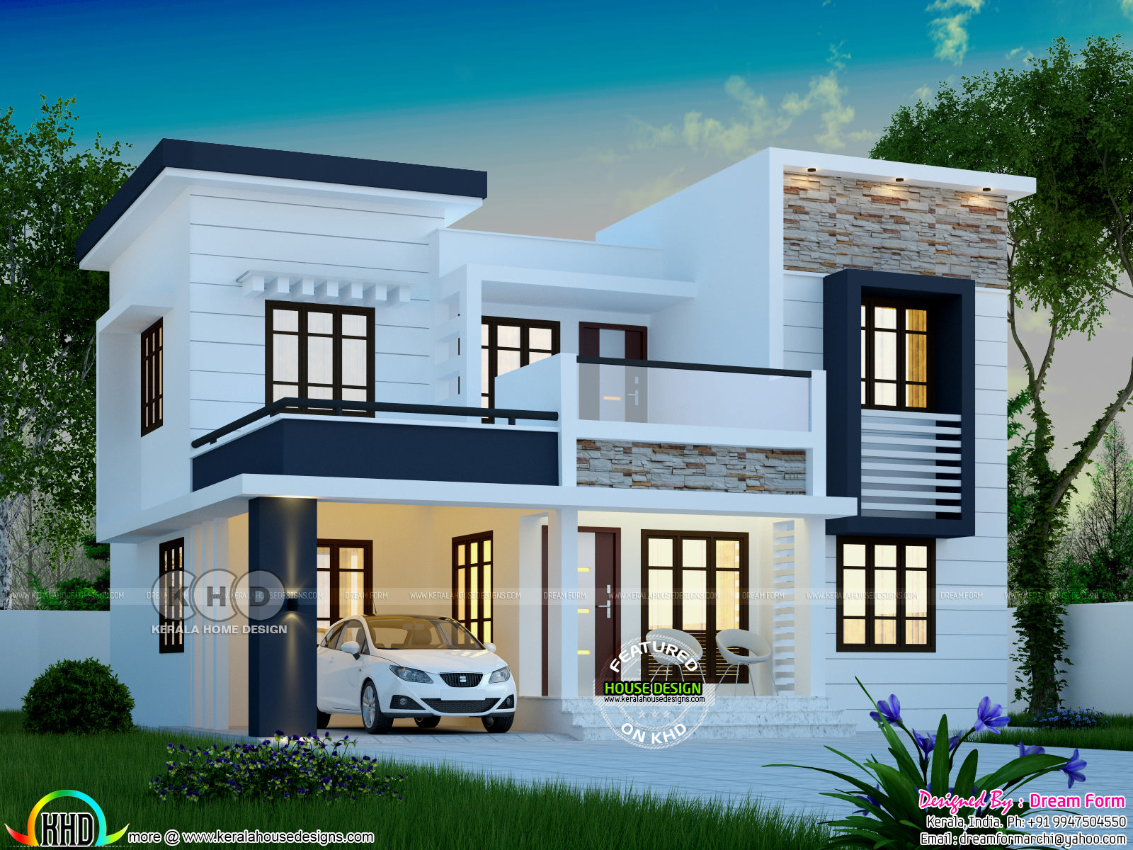 1748 square feet modern 4 bedroom house plan kerala home 16216 | nice modern house