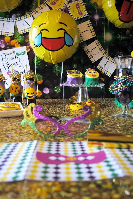 Have an emojinal good time at Fizzy Party's Mardi Gras party.