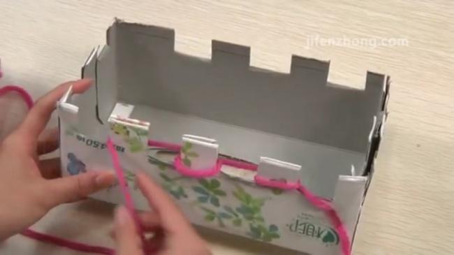Peçete Kutusunda El İle Atkı Örme Tekniği 5