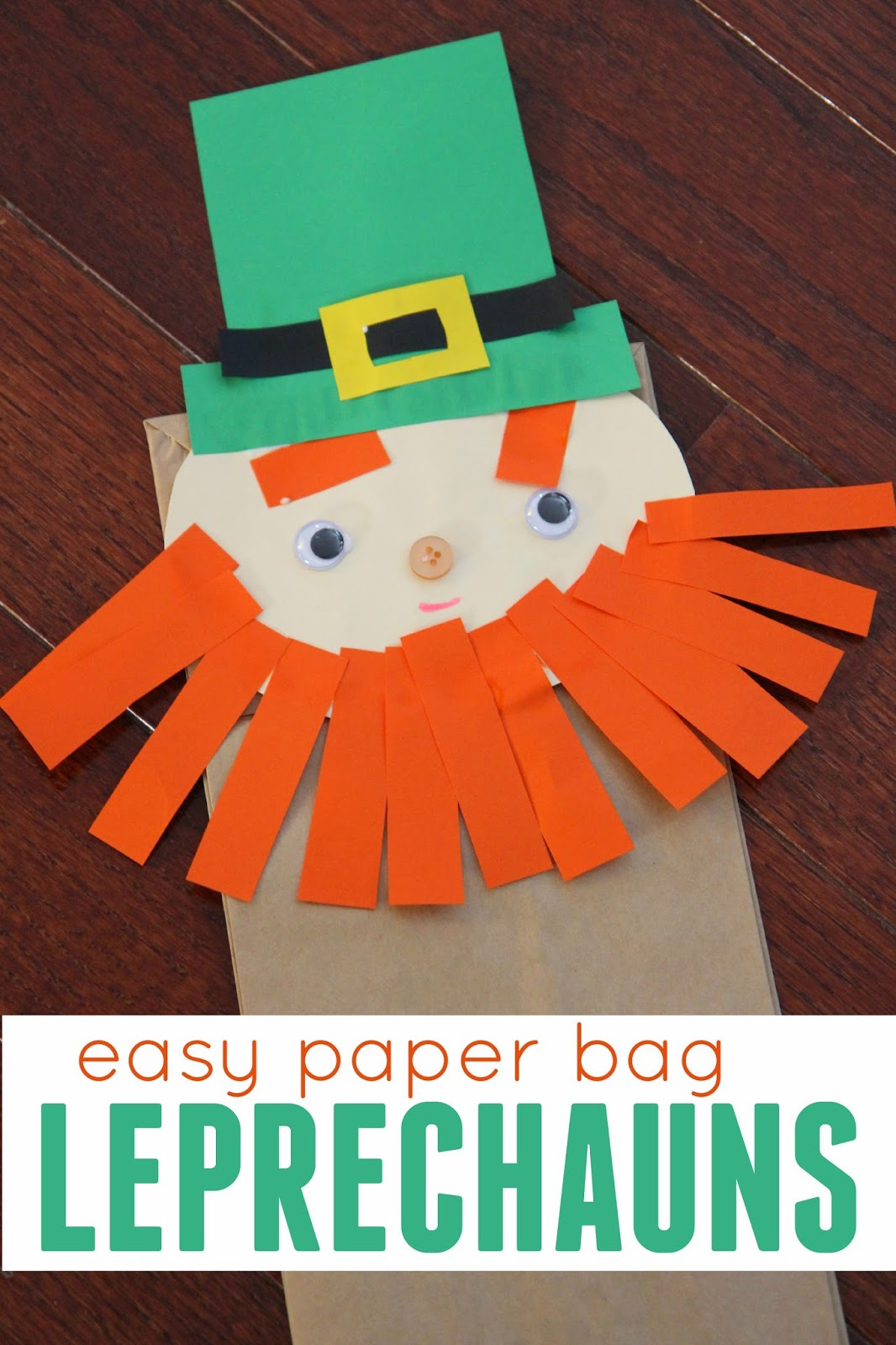 Toddler Approved Easy Preschool Cutting Craft Paper Bag Leprechauns