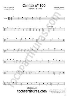Viola Sheet Music for Cantiga de Amigo Nº 100 de Alfonso X El Sabio Classical Music Scores