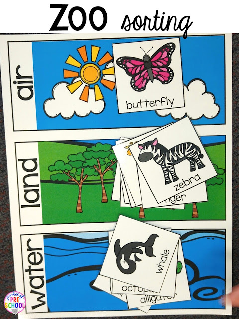 Zoo sorting activity for a zoo theme. Desert art FREEBIE. Prefect for preschool, pre-k, and kindergarten.