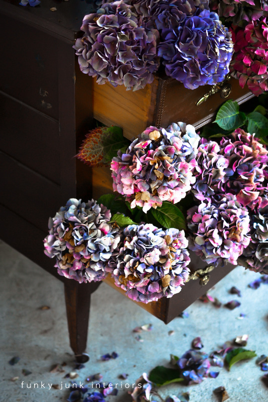 Dried hydrangea dresser outdoors in outstanding colours, via Funky Junk Interiors