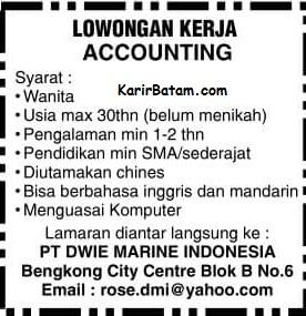Lowongan Kerja PT. Dwie Marine Indonesia