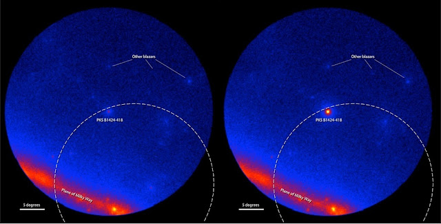Fermi LAT images showing the gamma-ray sky around the blazar PKS B1424-418. Brighter colors indicate greater numbers of gamma rays. The dashed arc marks part of the source region established by IceCube for the Big Bird neutrino (50-percent confidence level). Left: An average of LAT data centered on July 8, 2011 covering 300 days when the blazar was inactive. Right: An average of 300 active days centered on Feb. 27, 2013, when PKS B1424-418 was the brightest blazar in this part of the sky. Credit: NASA/DOE/LAT-Collaboration