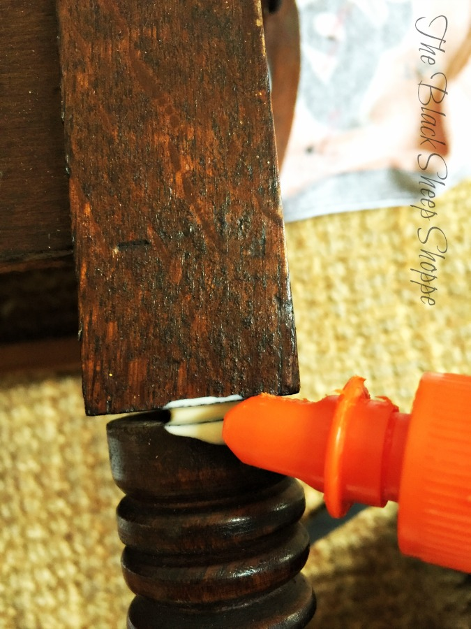 Wood glue will form a tight bond and fix the wobbly table legs.