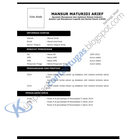 Download Contoh Cv Yang Menarik Format Doc Kumpulan Contoh Tugas