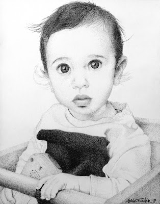 Pointillism portrait of a baby sitting in high chair with toy.